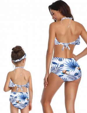 Sultry Ruffle Two Pieces Family High Waist Swimsuit Beach Playing Time