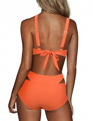 Modern Orange Bikini Cut Out For Women Criss-Cross Bowknot