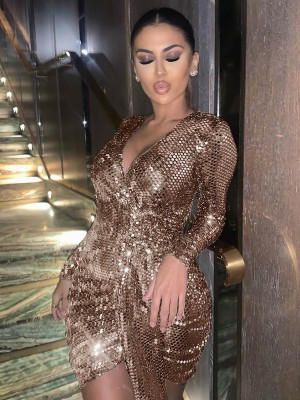 Stylish Gold Bodycon Dress High-Low Hem Sequin Great Quality