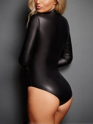 Good-Looking Black PU Zipper Bodysuit Mock Neck Full Sleeve Luscious Curvy