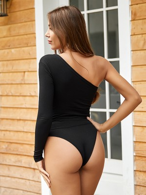 Eye Catching Black Single Shoulder Bodysuit Solid Color Comfort Women