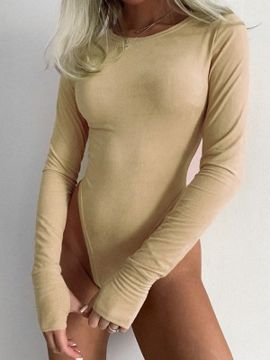 Khaki Round Neck Crotch Button Bodysuit Plain On-Trend Fashion