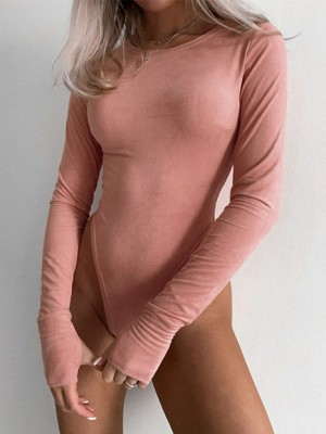 Pink Long Sleeve Button Bodysuit With Thumbhole Street Style