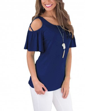Eye Catching Navy Blue Ruffle Trim Short Sleeves Shirts For Sexy Women
