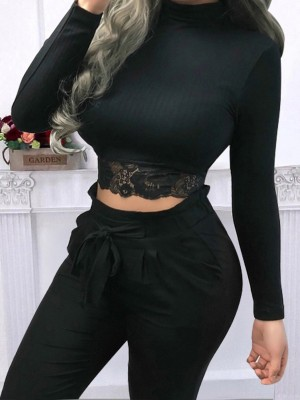 Excellent Black Lace Patchwork Cropped Mock Neck Top Classic Fashion
