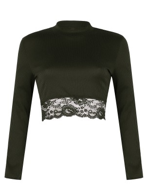 Woman Army Green Mock Neck Lace Trim Plain Crop Top Casual Women Clothes