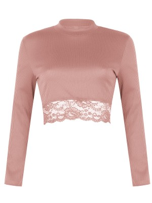 Individualistic Pink Long Sleeve Mock Neck Crop Top Lace Fashion Tee