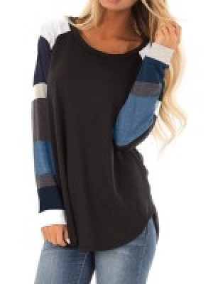 Elegant Black Long Sleeve Round Collar Sweatshirt Fashion Insider