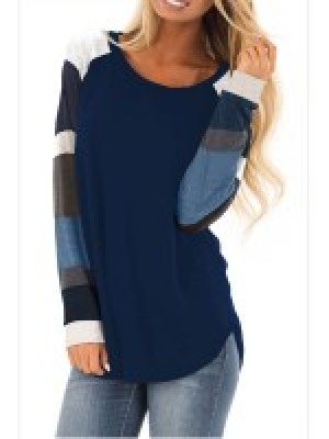 Flattering Dark Blue Round Collar Sweatshirt Long Sleeve For Hanging Out