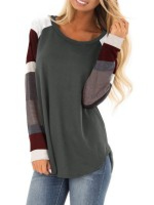 Retro Gray Color Patchwork Long Sleeve Sweatshirt Quality Assured