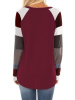 Comfy Wine Red Crew Neck Full Sleeve Sweatshirt Patchwork Natural Fit