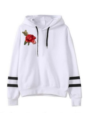 Chic White Hooded Neck Drawstring Sweatshirt Womenswear