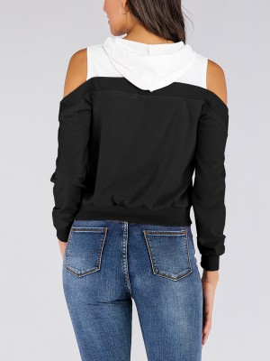 Cheeky Black Drawstring Sweatshirt Full Sleeve Online