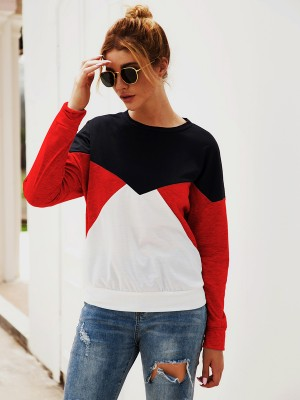 Vibrant Red Contrast Color Crew Neck Sweatshirt Womenswear