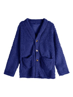 Exceptional Dark Blue Large Size Solid Color Plush Coat Leisure Fashion