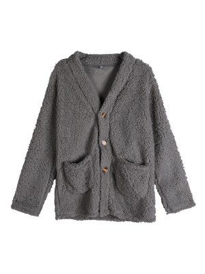 Consummate Dark Gray Button Front Coat Double Pockets Holiday