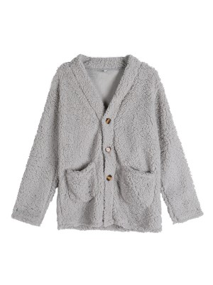 Daring Light Gray Coat Queen Size Long Sleeve Modern Fashion