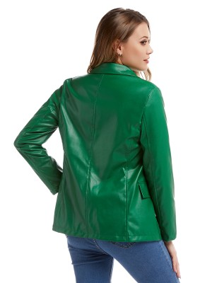 Marvelous  Green Lapel Neck PU Jacket Front Buttons For Beauty