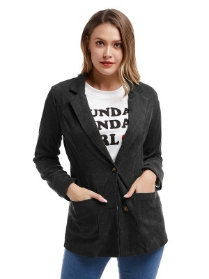 Individualistic Black Button Corduroy Jacket With Pockets Cheap Online