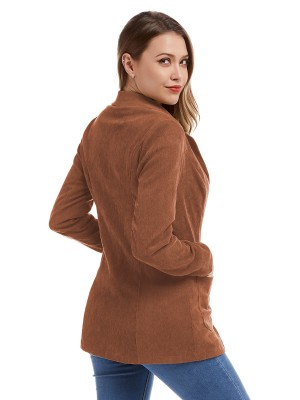 Incredible Orange Full Sleeves Button Corduroy Jacket For Ladies