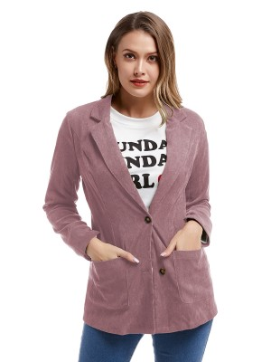 Shop Pink Front Button Pocket Jacket Lapel Neck Women Fashion