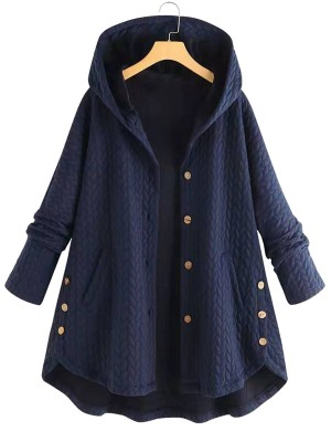 Romance Dark Blue Solid Color Button Plus Size Coat For Upscale