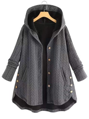 Marvelous Gray Hooded Collar Coat Ruffle Hem Heartbreaker