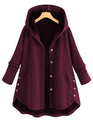 Conservative Wine Red Large Size Coat Hooded Neck Female Fashion