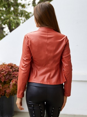 Bewildering Orange Solid Color PU Jacker Front Zipper Soft-Touch