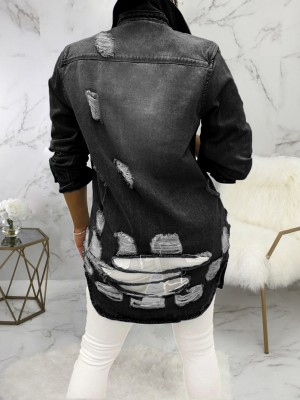 Black Long Sleeve Button Denim Jacket Ripped Natural Fit