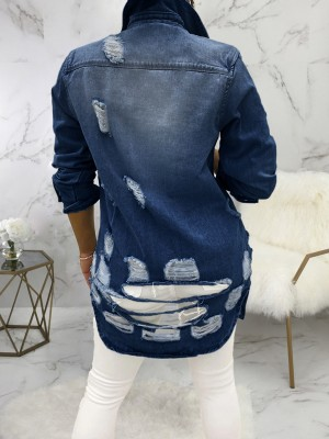 Deep Blue Hole Denim Jacket Oversize Turndown Neck For Ladies