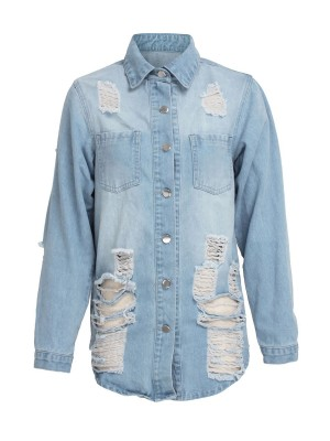 Light Blue Front Button Ripped Denim Jacket Lapel Stretch