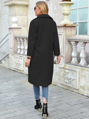 Black Turndown Neck Double-Breasted Coat Fashion Essential