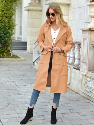 Khaki Double-Breasted Midi Coat With Pocket Fashion For Women