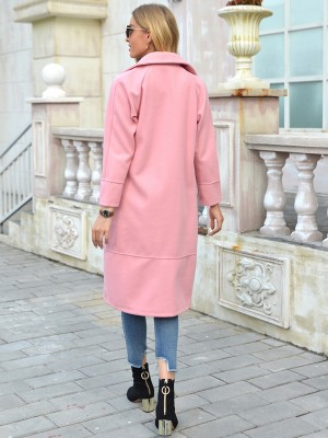 Pink Long Sleeve Turndown Neck Coat Plain All-Match Style