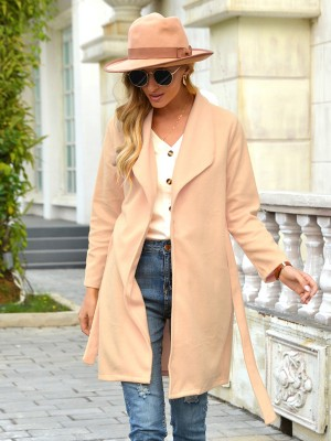 Beige Turndown Neck Front Open Coat With Belt Chic Online