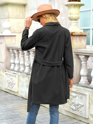 Black Front Open Turndown Neck Plain Coat Best Materials