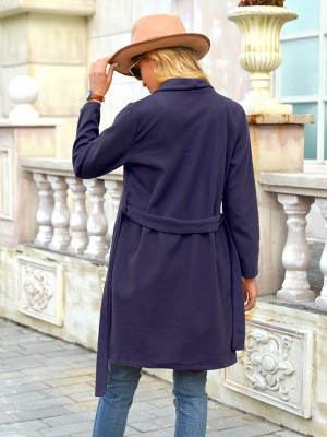 Purplish Blue Waist Belt Plus Size Coat Open Front Chic Trend