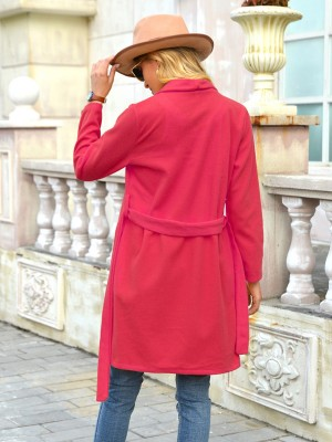 Red Solid Color Turndown Neck Belt Coat All-Match Fashion