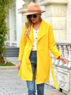 Yellow Solid Color Front Open Coat With Belt Classic Clothing