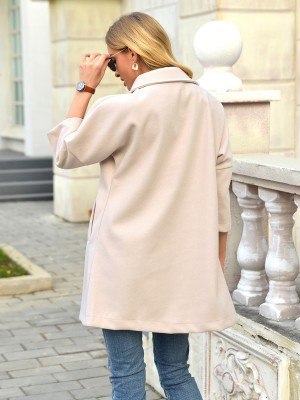 Beige Turndown Neck Single-Breasted Coat Tops For Women
