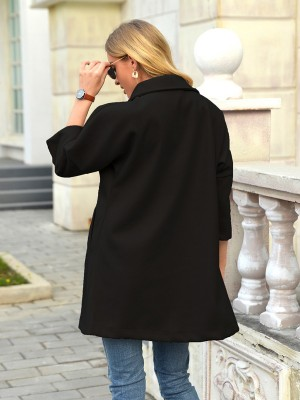 Black Side Pocket Button Coat Solid Color Cheap Wholesale