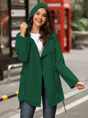 Blackish Green Coat Solid Color Ruched Long Sleeve Feminine Charm