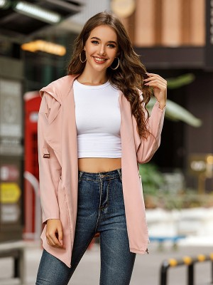 Pink Full Sleeve Coat Tie Thigh Length Women's Fashion