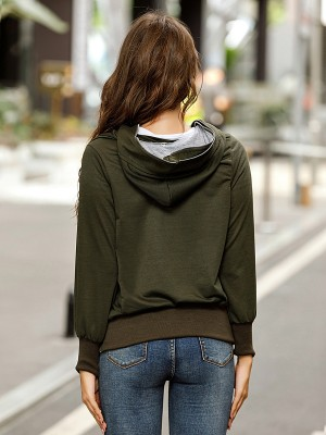 Army Green Zipper Pockets Solid Colar Coat Natural Women Fashion