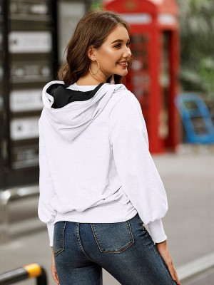 White Hip Length Zipper Coat Long Sleeve Best Materials