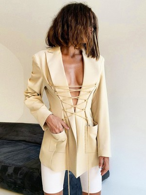 Beige Lapel Neck Drawstring Lace-Up Suit Jacket Relax Fit