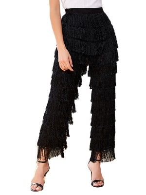 Energetic Black Layered Fringe High Waist Pants Side Zip Great Quality