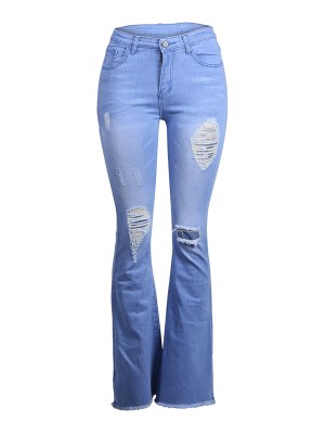 Explicitly Chosen Blue Ripped Jeans Full Length High Rise Chic Trend