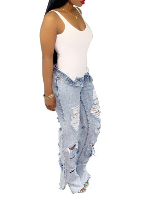 Desirable Light Blue Split Jeans High Waisted Broken Hole For Ladies